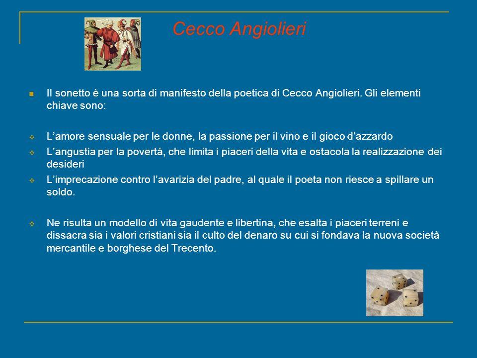 Cecco Angiolieri Il sonetto è una sorta di manifesto della poetica di Cecco Angiolieri. Gli elementi chiave sono: