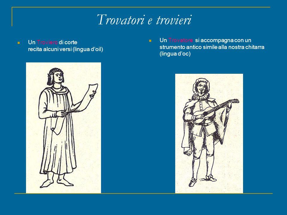 Trovatori e trovieri Un Trovatore si accompagna con un strumento antico simile alla nostra chitarra (lingua d'oc)