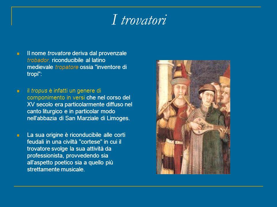 I trovatori Il nome trovatore deriva dal provenzale trobador, riconducibile al latino medievale tropatore ossia inventore di tropi :