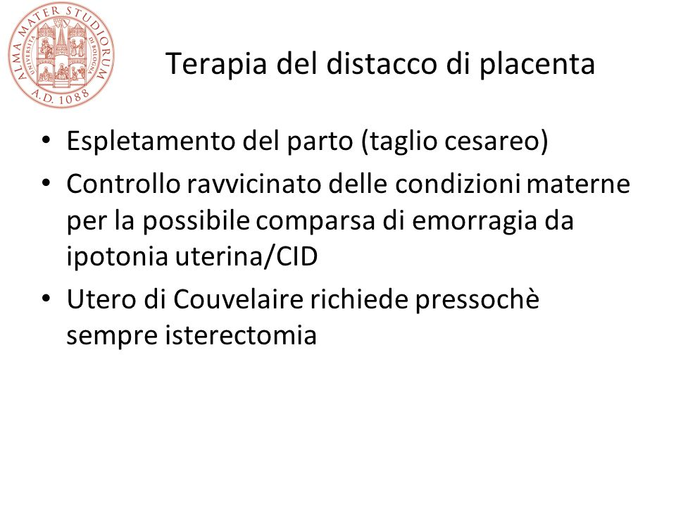 Terapia del distacco di placenta