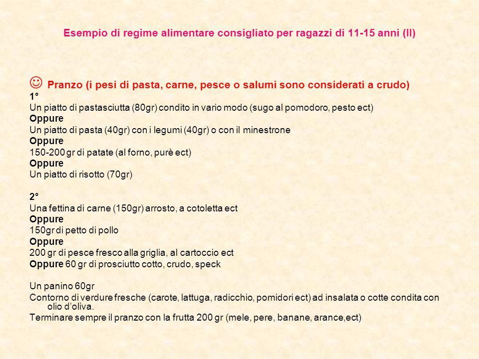 Esempio di regime alimentare consigliato per ragazzi di 11-15 anni (II)