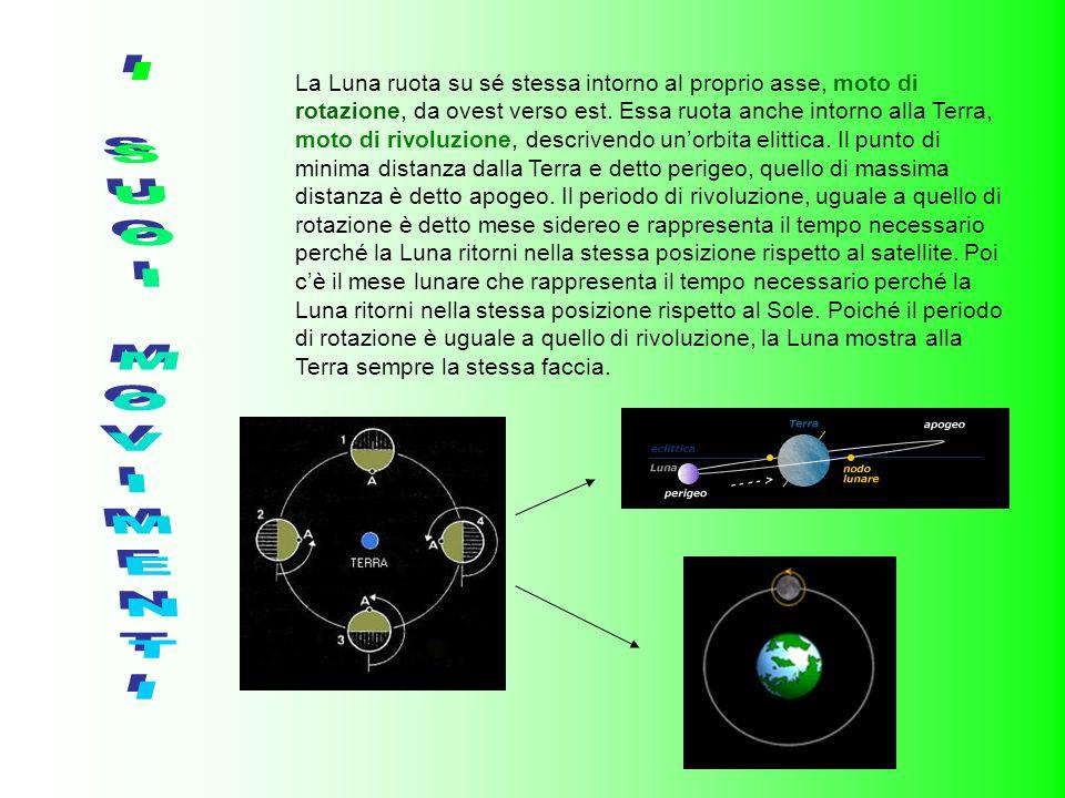 La Luna ruota su sé stessa intorno al proprio asse, moto di rotazione, da ovest verso est. Essa ruota anche intorno alla Terra, moto di rivoluzione, descrivendo un'orbita elittica. Il punto di minima distanza dalla Terra e detto perigeo, quello di massima distanza è detto apogeo. Il periodo di rivoluzione, uguale a quello di rotazione è detto mese sidereo e rappresenta il tempo necessario perché la Luna ritorni nella stessa posizione rispetto al satellite. Poi c'è il mese lunare che rappresenta il tempo necessario perché la Luna ritorni nella stessa posizione rispetto al Sole. Poiché il periodo di rotazione è uguale a quello di rivoluzione, la Luna mostra alla Terra sempre la stessa faccia.