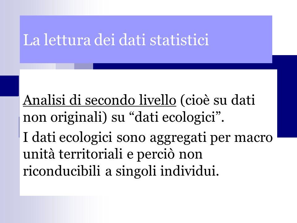 La lettura dei dati statistici