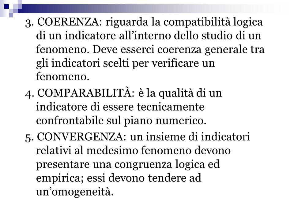 3. COERENZA: riguarda la compatibilità logica di un indicatore all'interno dello studio di un fenomeno. Deve esserci coerenza generale tra gli indicatori scelti per verificare un fenomeno.