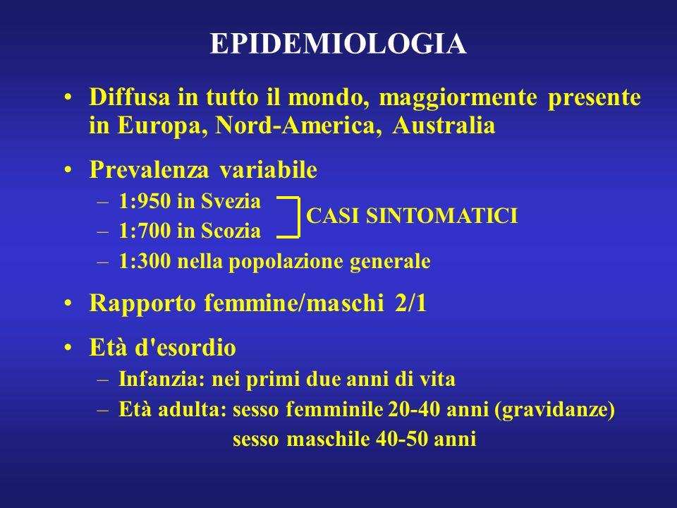 EPIDEMIOLOGIA Diffusa in tutto il mondo, maggiormente presente in Europa, Nord-America, Australia. Prevalenza variabile.