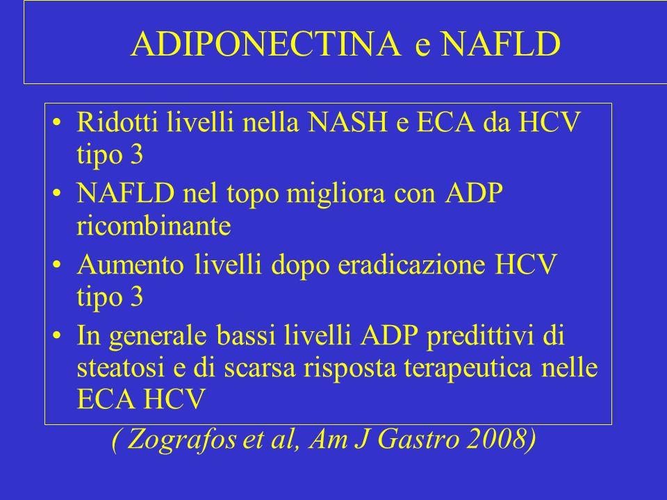ADIPONECTINA e NAFLD Ridotti livelli nella NASH e ECA da HCV tipo 3