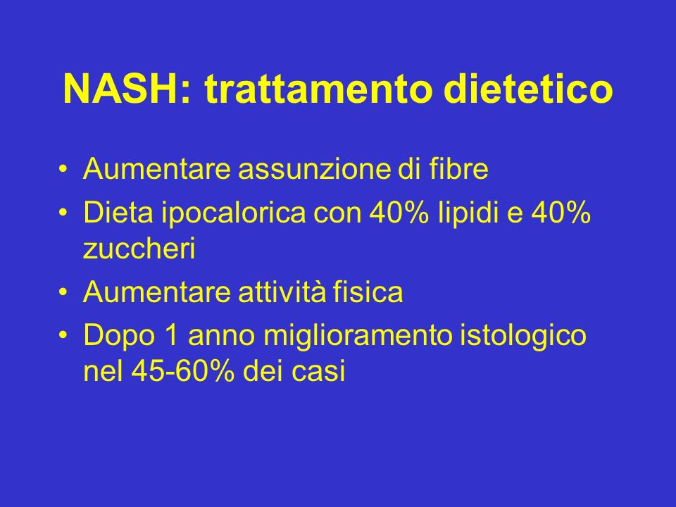 NASH: trattamento dietetico