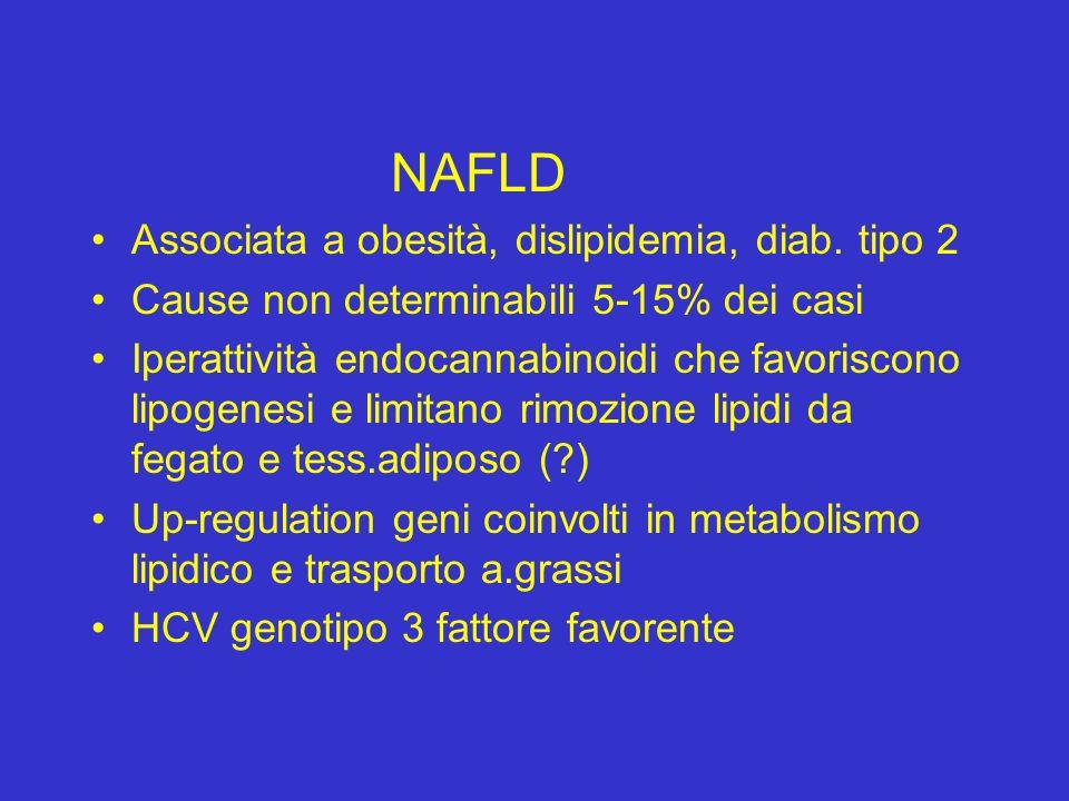 NAFLD Associata a obesità, dislipidemia, diab. tipo 2. Cause non determinabili 5-15% dei casi.