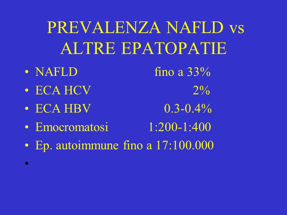 PREVALENZA NAFLD vs ALTRE EPATOPATIE