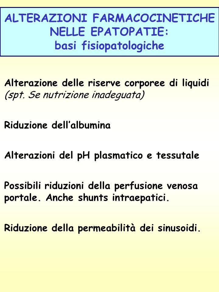 ALTERAZIONI FARMACOCINETICHE NELLE EPATOPATIE: basi fisiopatologiche