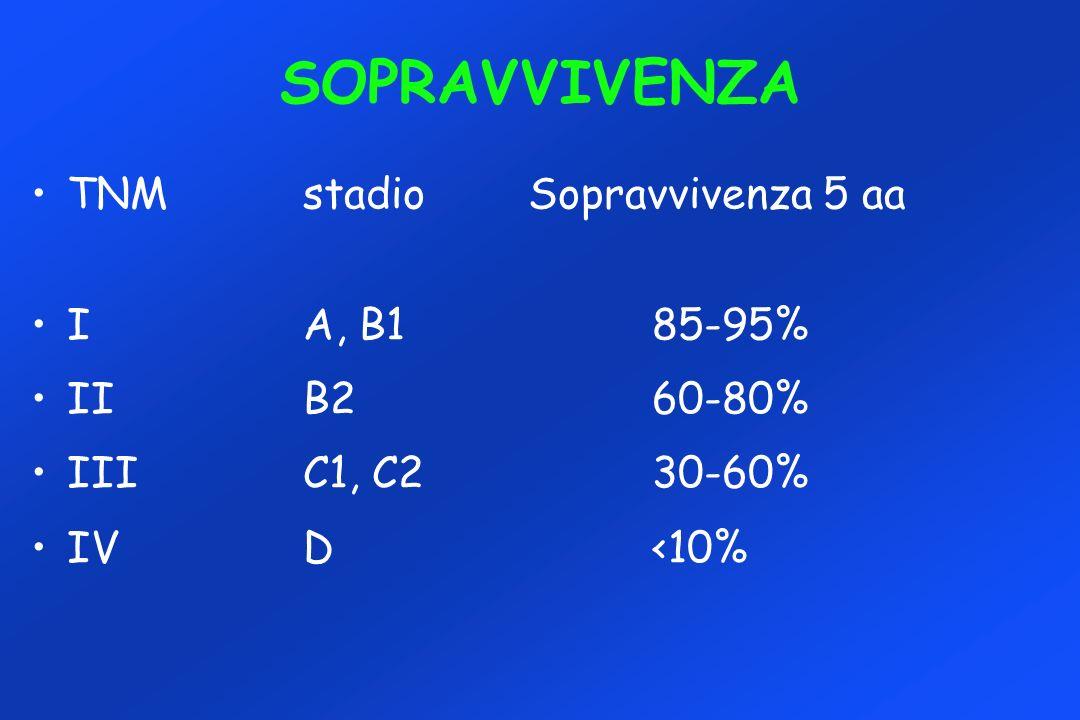 SOPRAVVIVENZA TNM stadio Sopravvivenza 5 aa I A, B1 85-95%