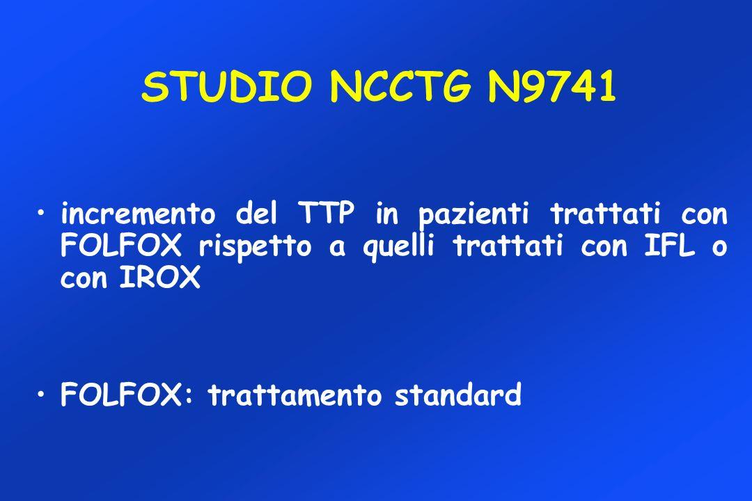 STUDIO NCCTG N9741 incremento del TTP in pazienti trattati con FOLFOX rispetto a quelli trattati con IFL o con IROX.