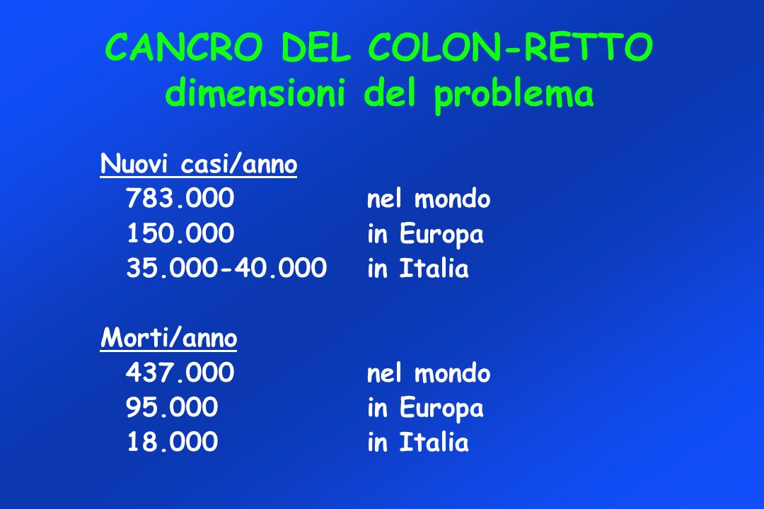 CANCRO DEL COLON-RETTO dimensioni del problema