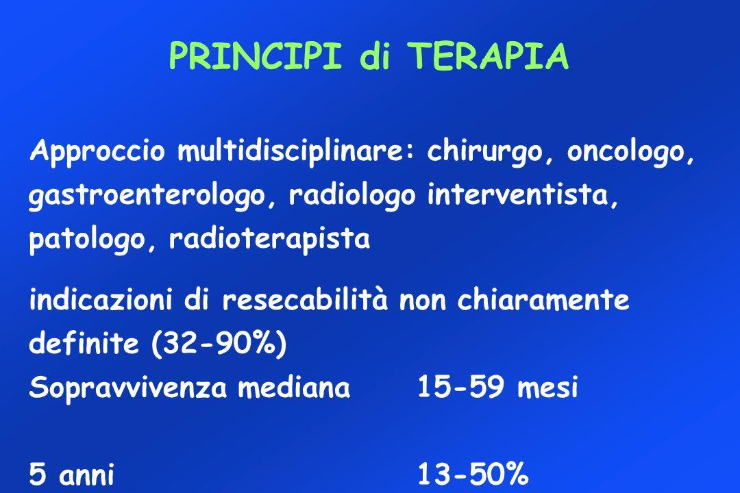 PRINCIPI di TERAPIA Approccio multidisciplinare: chirurgo, oncologo, gastroenterologo, radiologo interventista, patologo, radioterapista.