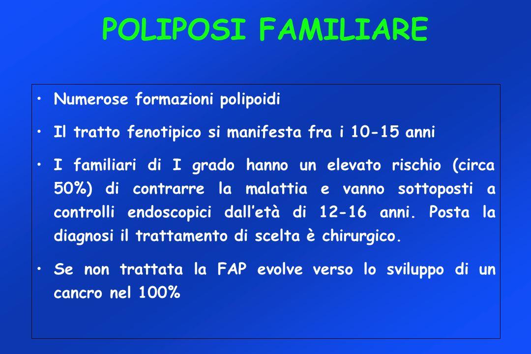 POLIPOSI FAMILIARE Numerose formazioni polipoidi