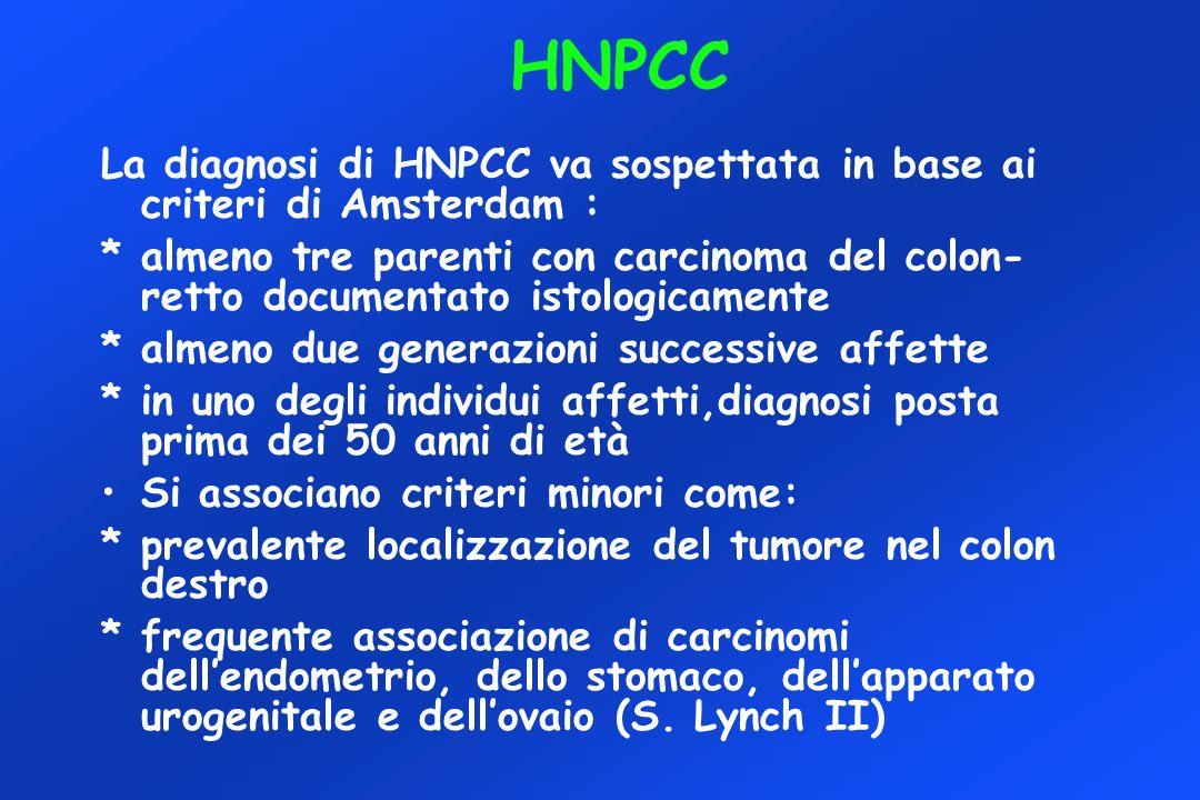 HNPCC La diagnosi di HNPCC va sospettata in base ai criteri di Amsterdam :