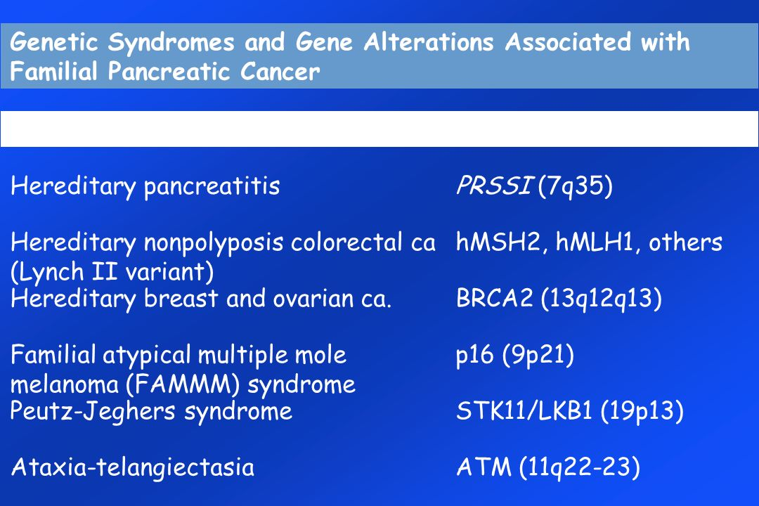 Genetic Syndromes and Gene Alterations Associated with Familial Pancreatic Cancer