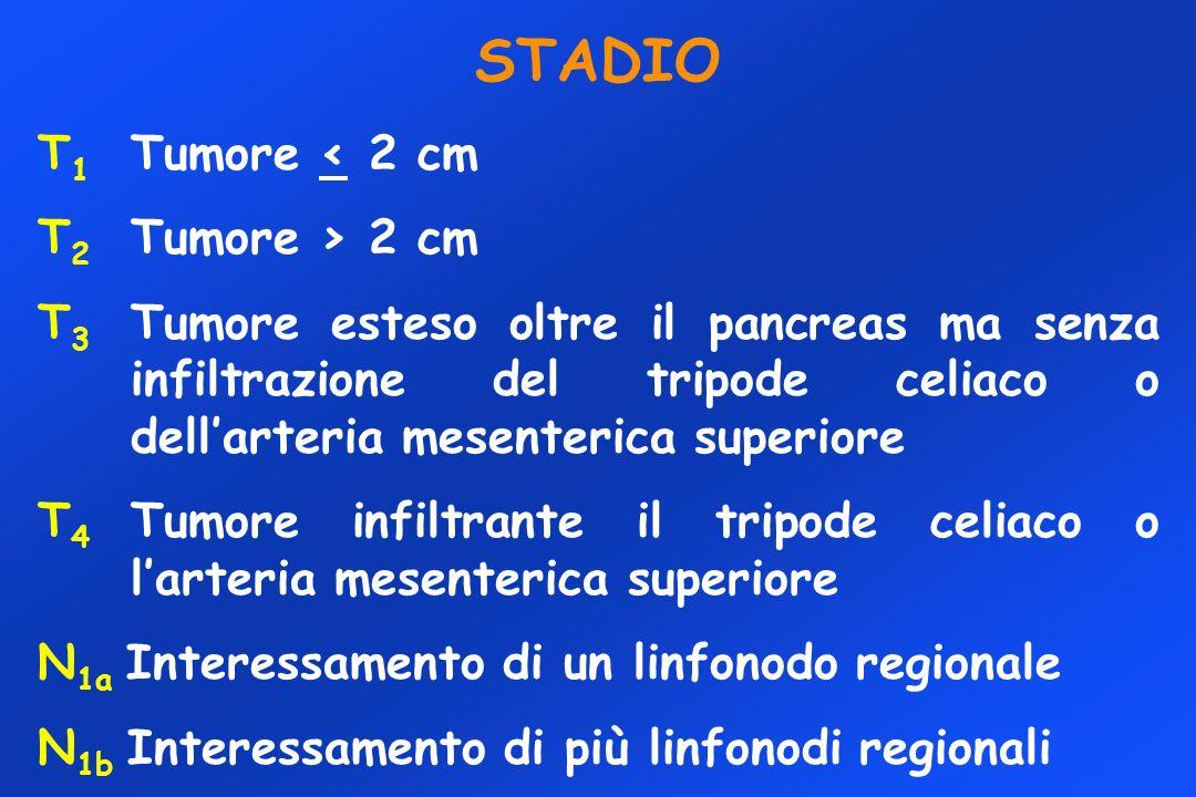 STADIO T1 Tumore < 2 cm T2 Tumore > 2 cm