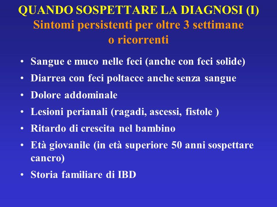 QUANDO SOSPETTARE LA DIAGNOSI (I) Sintomi persistenti per oltre 3 settimane o ricorrenti