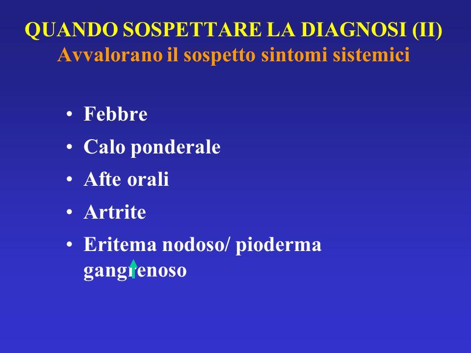 QUANDO SOSPETTARE LA DIAGNOSI (II) Avvalorano il sospetto sintomi sistemici