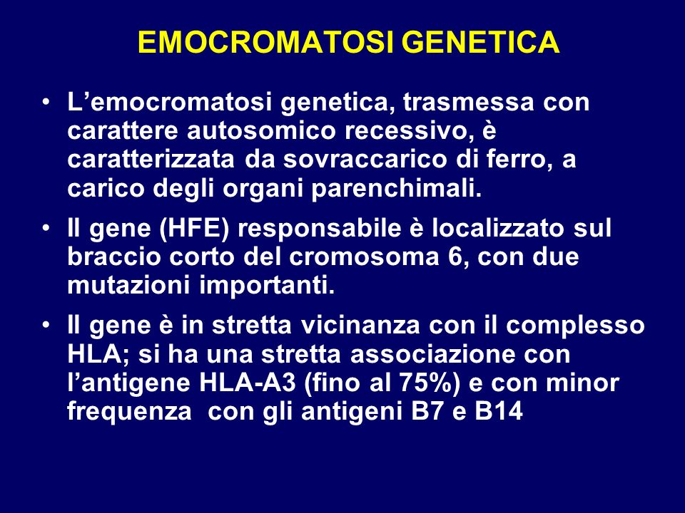 EMOCROMATOSI GENETICA
