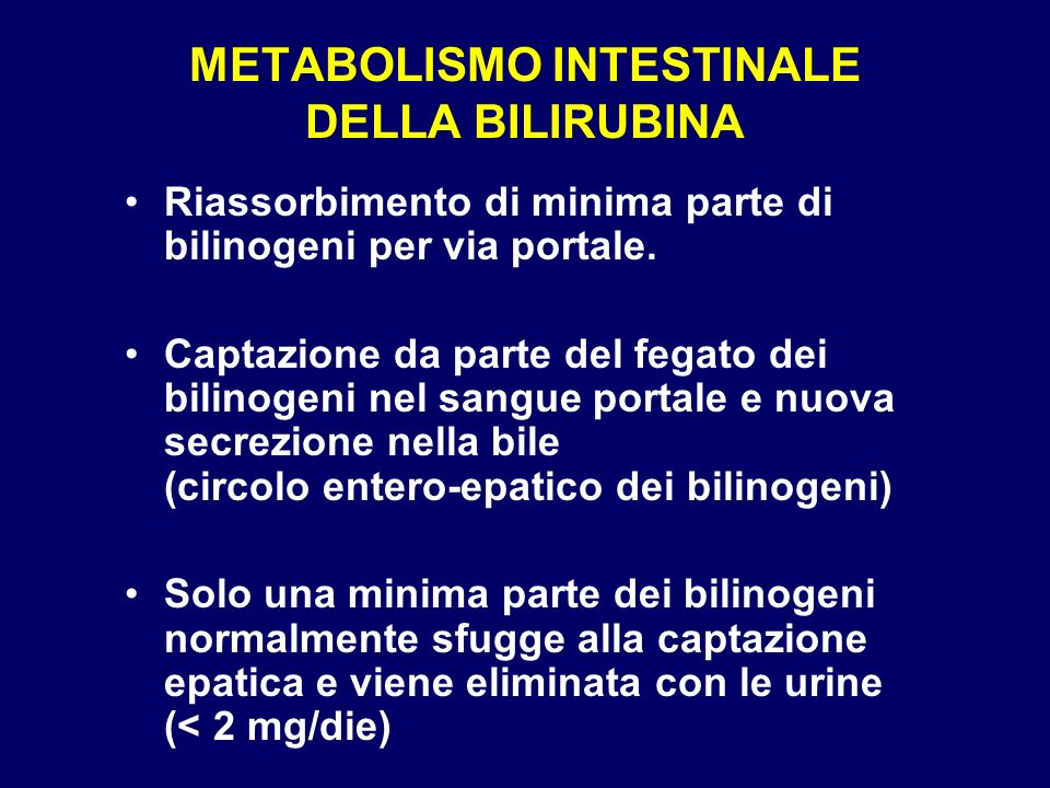 METABOLISMO INTESTINALE DELLA BILIRUBINA
