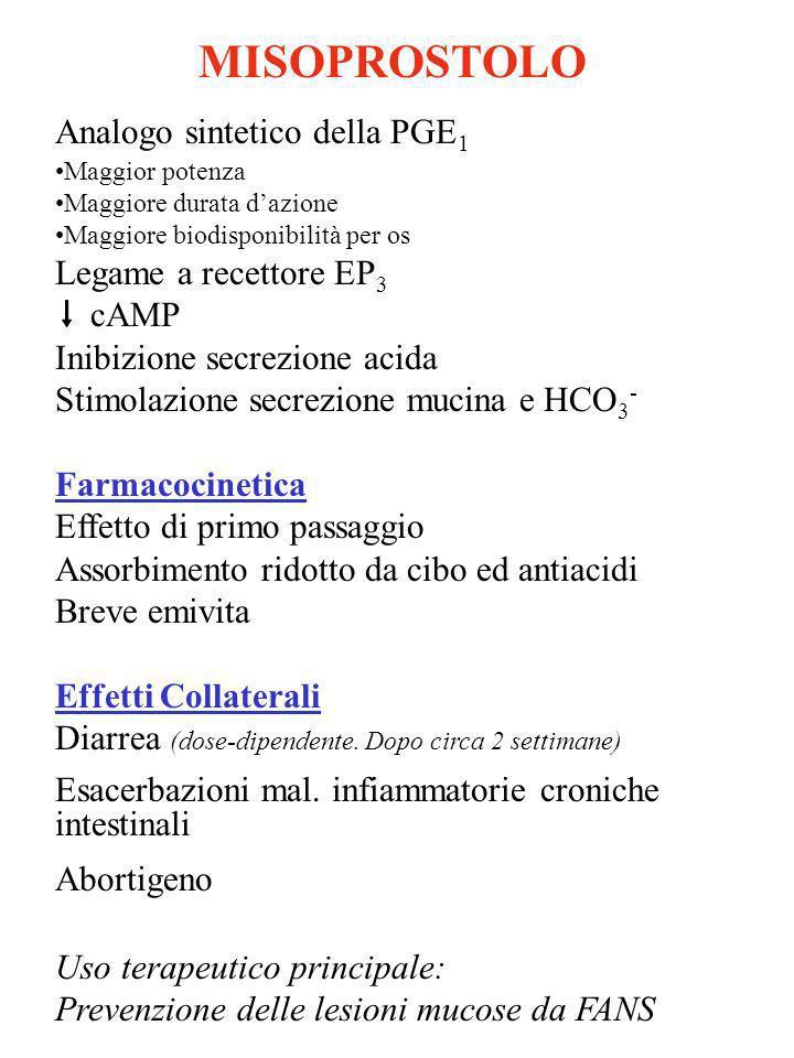 MISOPROSTOLO Analogo sintetico della PGE1 Legame a recettore EP3 cAMP