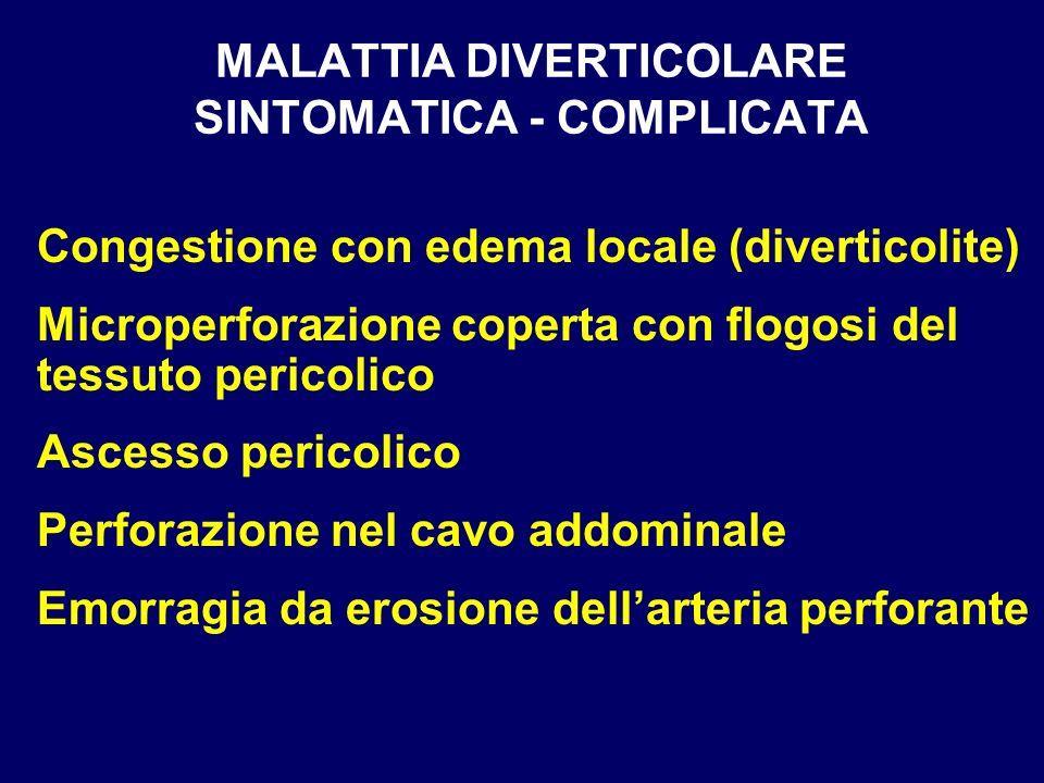 MALATTIA DIVERTICOLARE SINTOMATICA - COMPLICATA