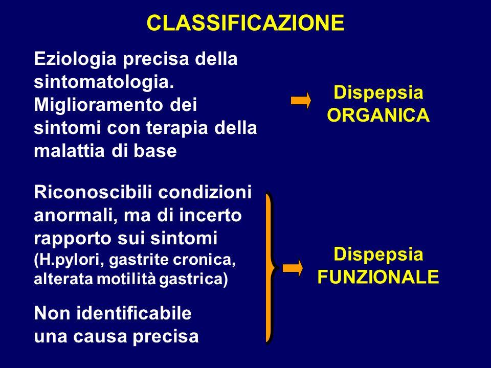 CLASSIFICAZIONE Eziologia precisa della sintomatologia. Miglioramento dei sintomi con terapia della malattia di base.