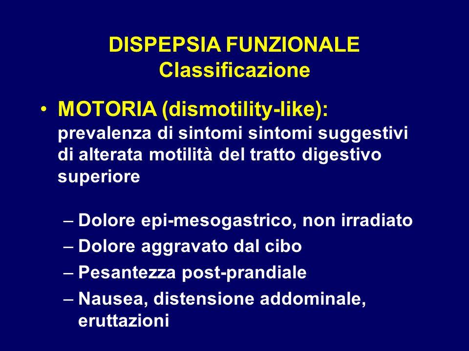 DISPEPSIA FUNZIONALE Classificazione