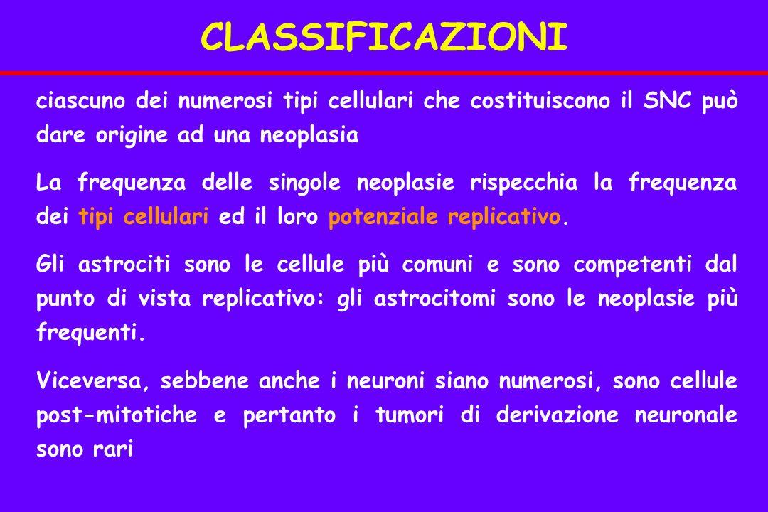 CLASSIFICAZIONI ciascuno dei numerosi tipi cellulari che costituiscono il SNC può dare origine ad una neoplasia.