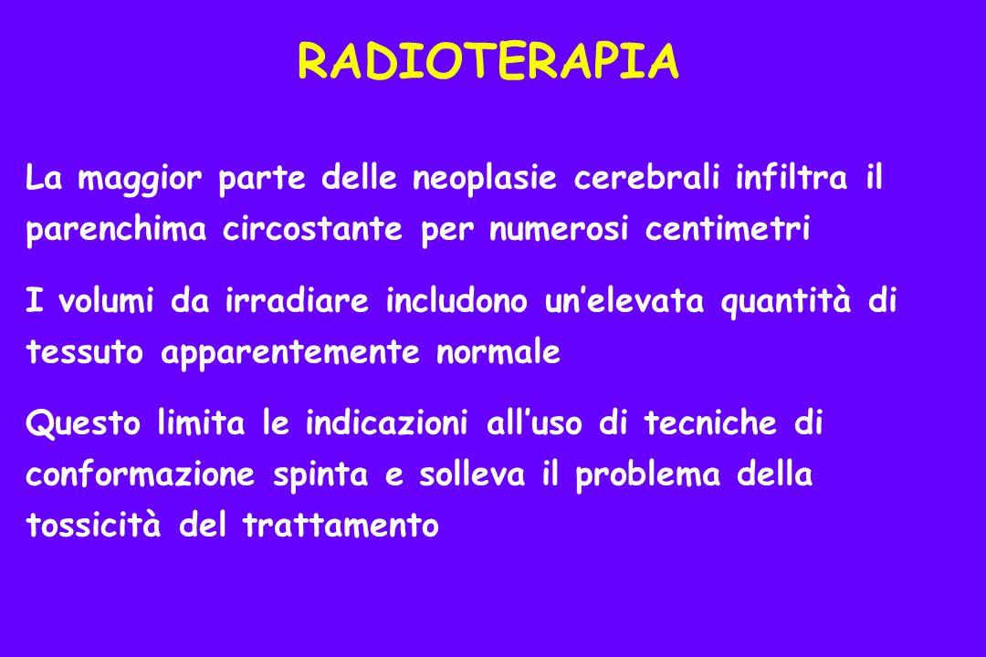RADIOTERAPIA La maggior parte delle neoplasie cerebrali infiltra il parenchima circostante per numerosi centimetri.