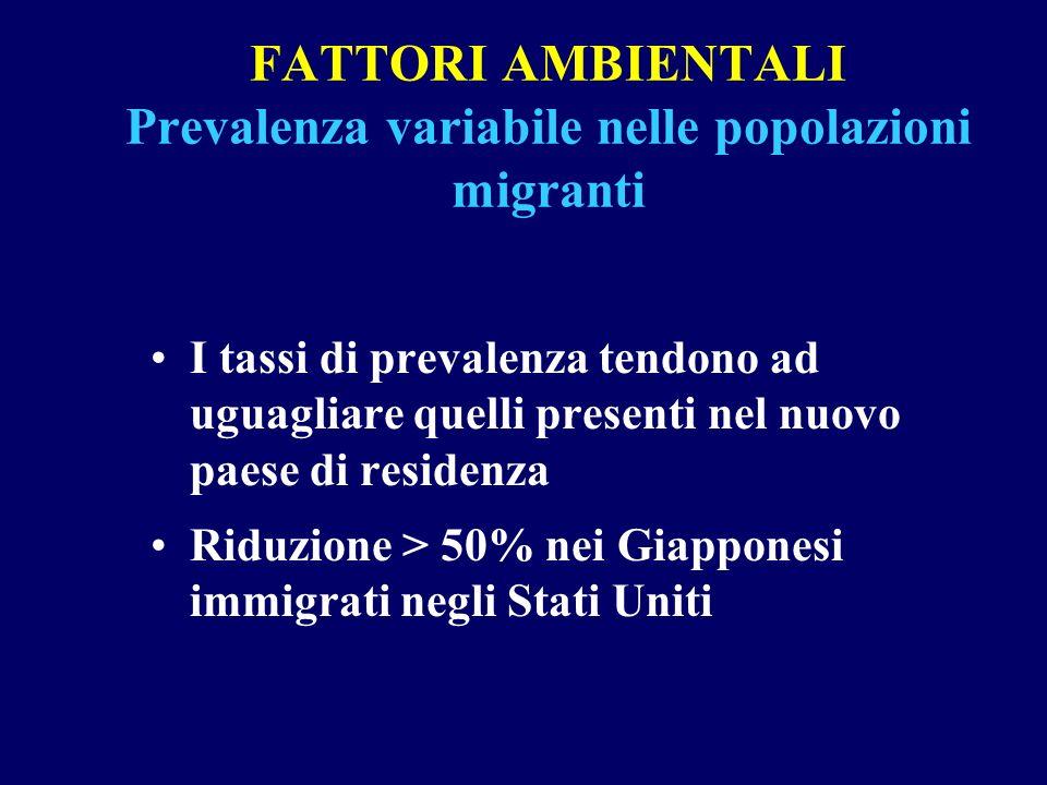 FATTORI AMBIENTALI Prevalenza variabile nelle popolazioni migranti