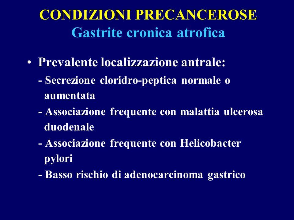 CONDIZIONI PRECANCEROSE Gastrite cronica atrofica
