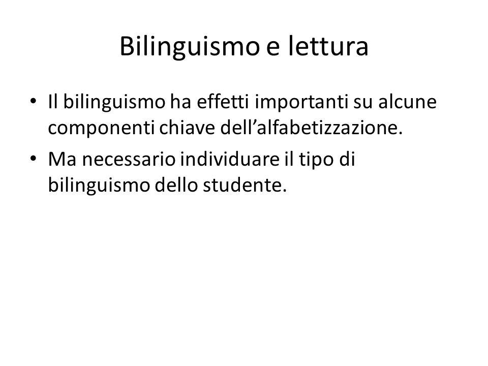 Bilinguismo e lettura Il bilinguismo ha effetti importanti su alcune componenti chiave dell'alfabetizzazione.