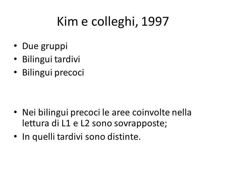 Kim e colleghi, 1997 Due gruppi Bilingui tardivi Bilingui precoci