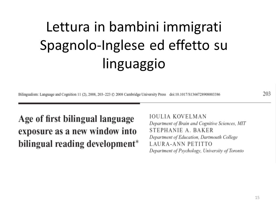 Lettura in bambini immigrati Spagnolo-Inglese ed effetto su linguaggio