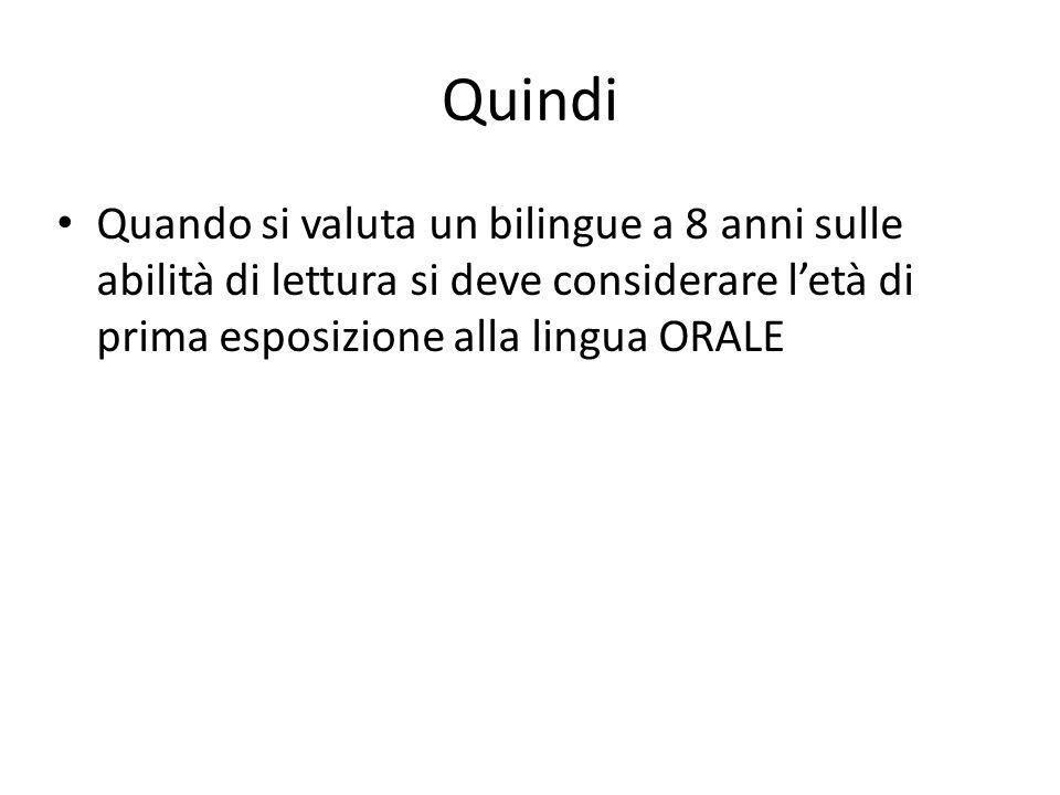 Quindi Quando si valuta un bilingue a 8 anni sulle abilità di lettura si deve considerare l'età di prima esposizione alla lingua ORALE.