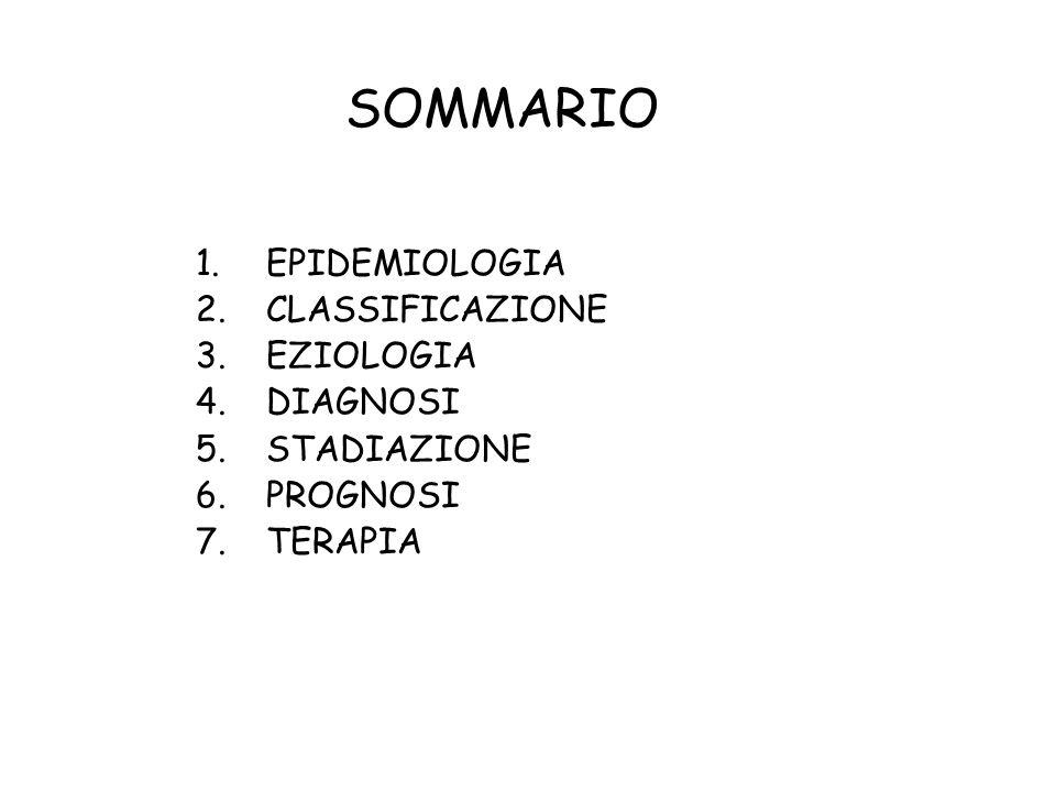 SOMMARIO EPIDEMIOLOGIA CLASSIFICAZIONE EZIOLOGIA DIAGNOSI STADIAZIONE
