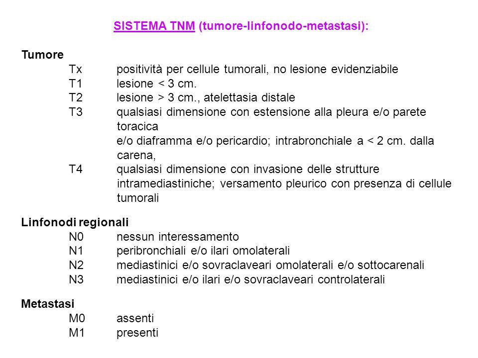 SISTEMA TNM (tumore-linfonodo-metastasi):