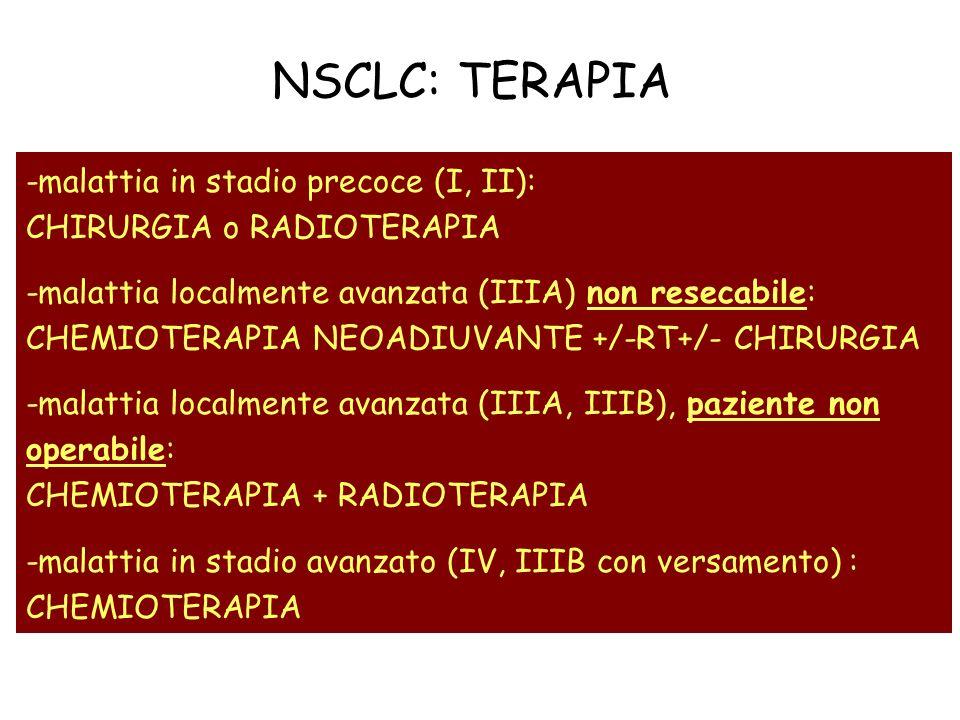 NSCLC: TERAPIA -malattia in stadio precoce (I, II): CHIRURGIA o RADIOTERAPIA.