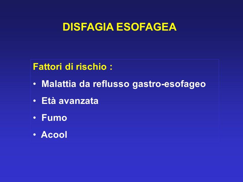 DISFAGIA ESOFAGEA Fattori di rischio :