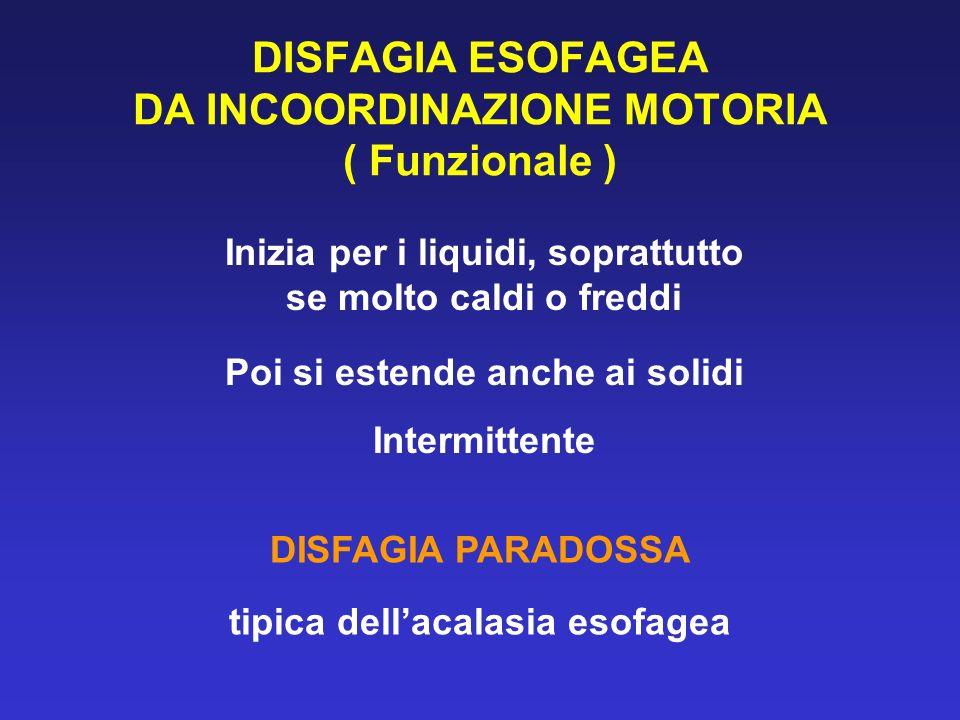DISFAGIA ESOFAGEA DA INCOORDINAZIONE MOTORIA ( Funzionale )