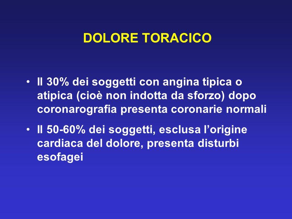 DOLORE TORACICO Il 30% dei soggetti con angina tipica o atipica (cioè non indotta da sforzo) dopo coronarografia presenta coronarie normali.