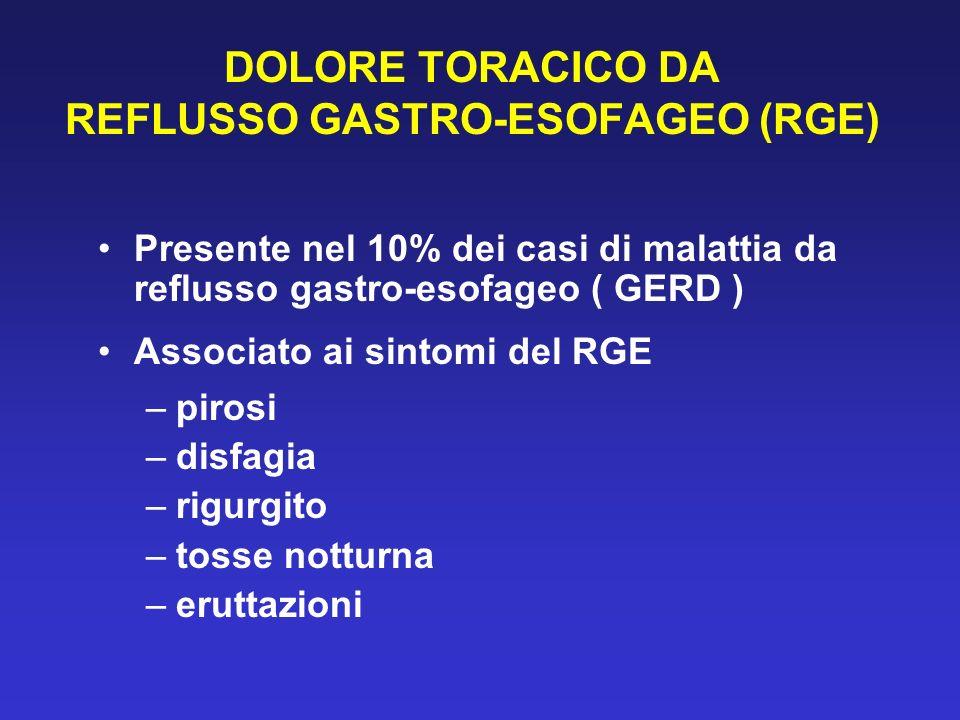 DOLORE TORACICO DA REFLUSSO GASTRO-ESOFAGEO (RGE)