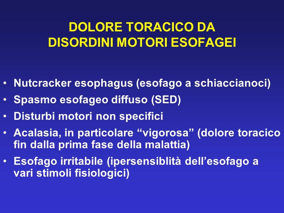 DOLORE TORACICO DA DISORDINI MOTORI ESOFAGEI