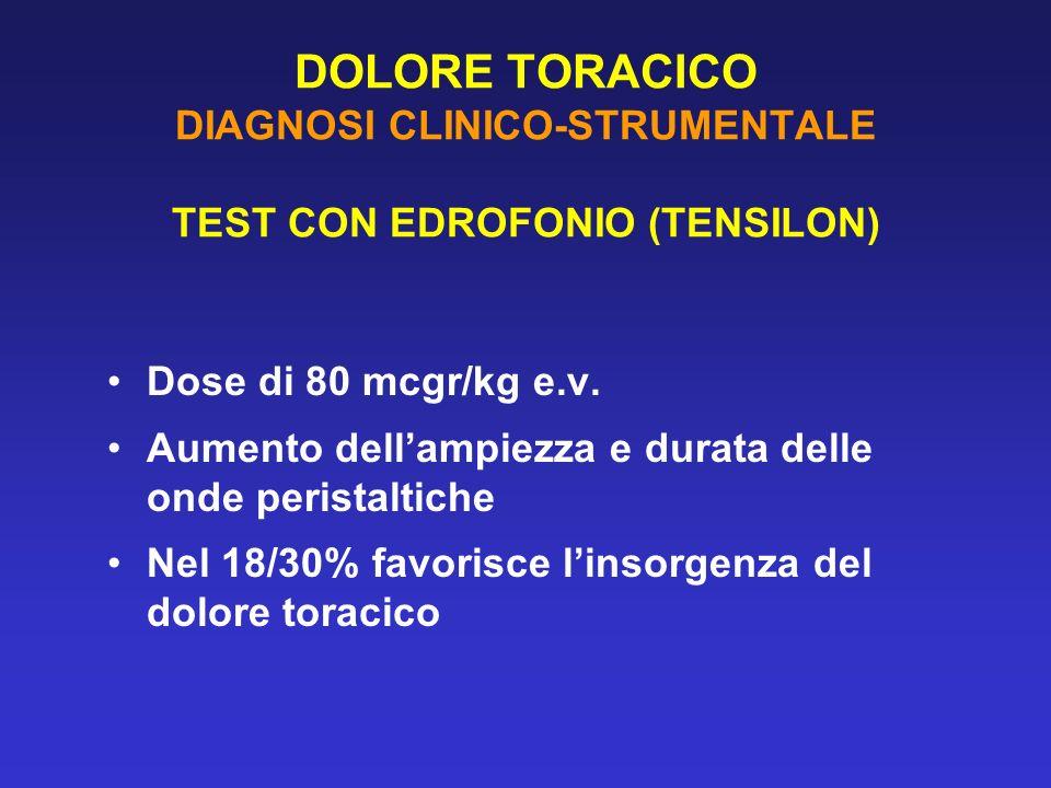DOLORE TORACICO DIAGNOSI CLINICO-STRUMENTALE TEST CON EDROFONIO (TENSILON)