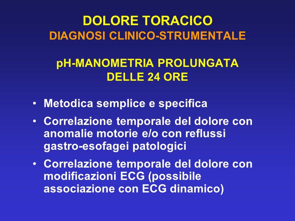DOLORE TORACICO DIAGNOSI CLINICO-STRUMENTALE pH-MANOMETRIA PROLUNGATA DELLE 24 ORE