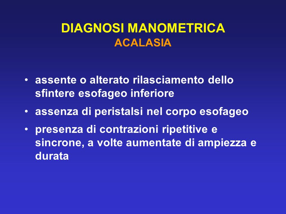 DIAGNOSI MANOMETRICA ACALASIA