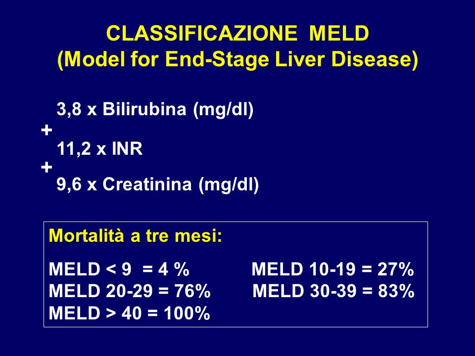 CLASSIFICAZIONE MELD (Model for End-Stage Liver Disease)